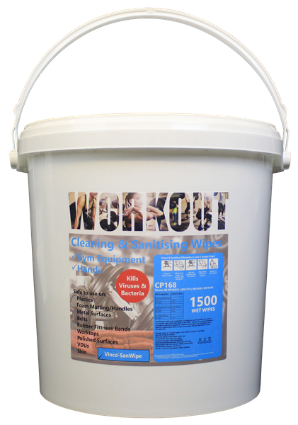 Vinco-SanWipe For Gyms Clean & Sanitise Wet Wipe Tub 1000sheet