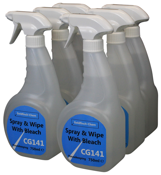 Goldfinch Spray & Wipe with Bleach Bactericidal Trigger 6x750ml CG141